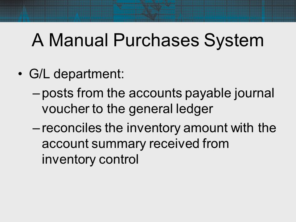 G/L department: –posts from the accounts payable journal voucher to the general ledger –reconciles the inventory amount with the account summary recei