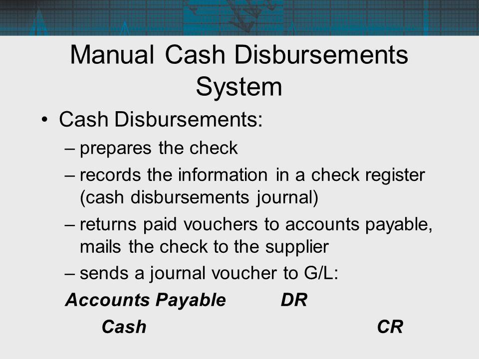 Manual Cash Disbursements System Cash Disbursements: –prepares the check –records the information in a check register (cash disbursements journal) –re