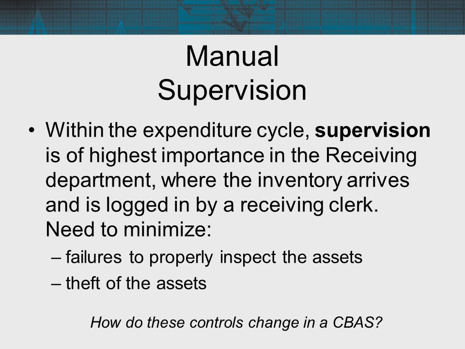 Manual Supervision Within the expenditure cycle, supervision is of highest importance in the Receiving department, where the inventory arrives and is