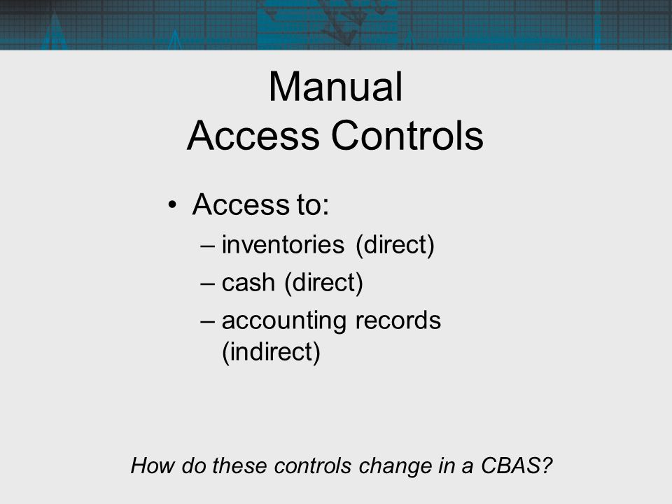 Manual Access Controls Access to: –inventories (direct) –cash (direct) –accounting records (indirect) How do these controls change in a CBAS?