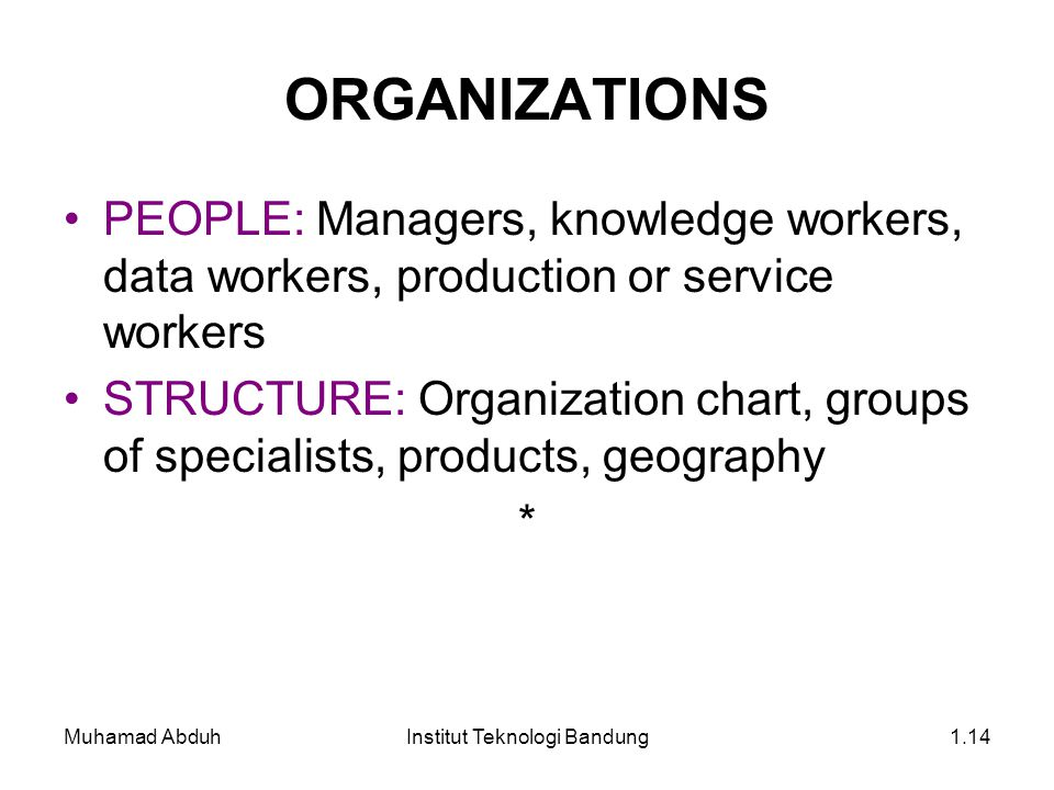 Muhamad AbduhInstitut Teknologi Bandung1.14 ORGANIZATIONS PEOPLE: Managers, knowledge workers, data workers, production or service workers STRUCTURE: Organization chart, groups of specialists, products, geography *