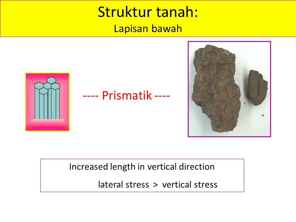 ---- Prismatik ---- Struktur tanah: Lapisan bawah Increased length in vertical direction lateral stress > vertical stress