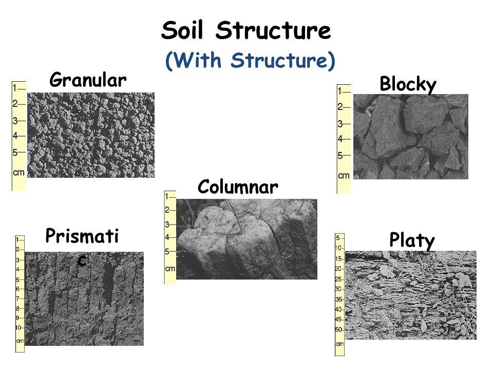 (With Structure) Granular Blocky Prismati c Columnar Platy Soil Structure