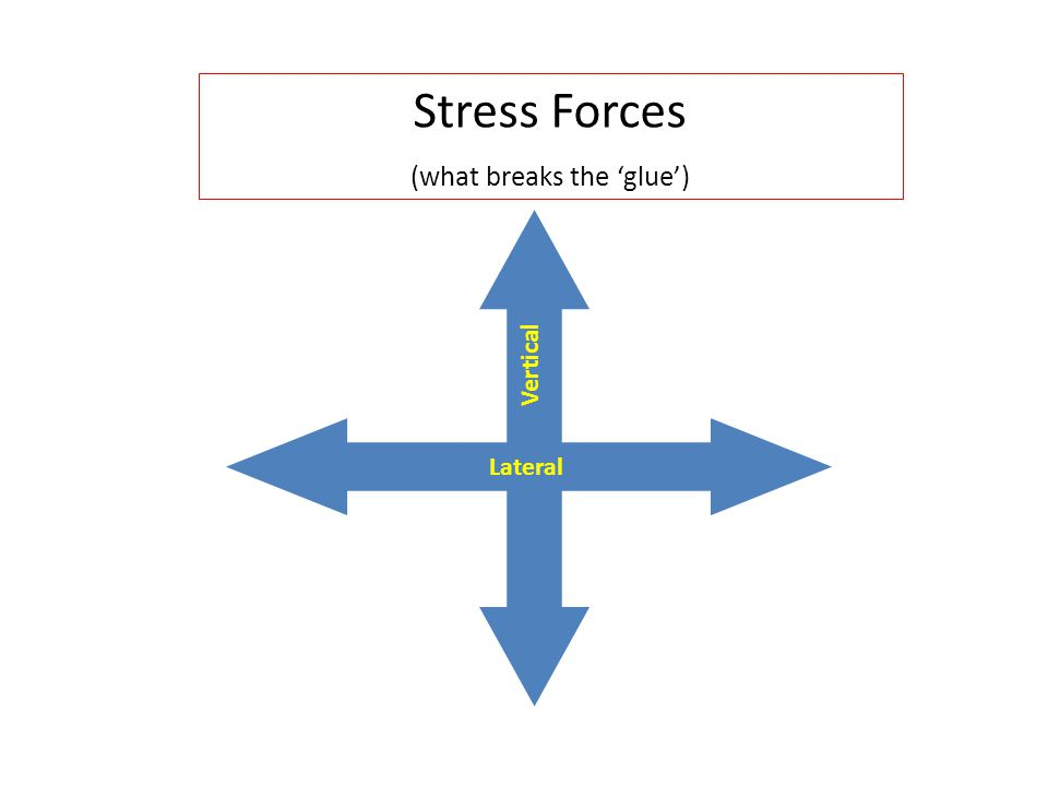 Lateral Stress Forces (what breaks the 'glue') Vertical