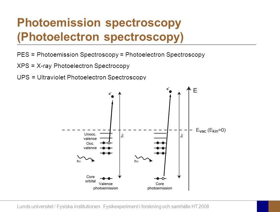 Lunds universitet / Fysiska institutionen Fysikexperiment i forskning och samhälle HT 2008 PES = Photoemission Spectroscopy = Photoelectron Spectroscopy XPS = X-ray Photoelectron Spectrocopy UPS = Ultraviolet Photoelectron Spectroscopy Photoemission spectroscopy (Photoelectron spectroscopy)
