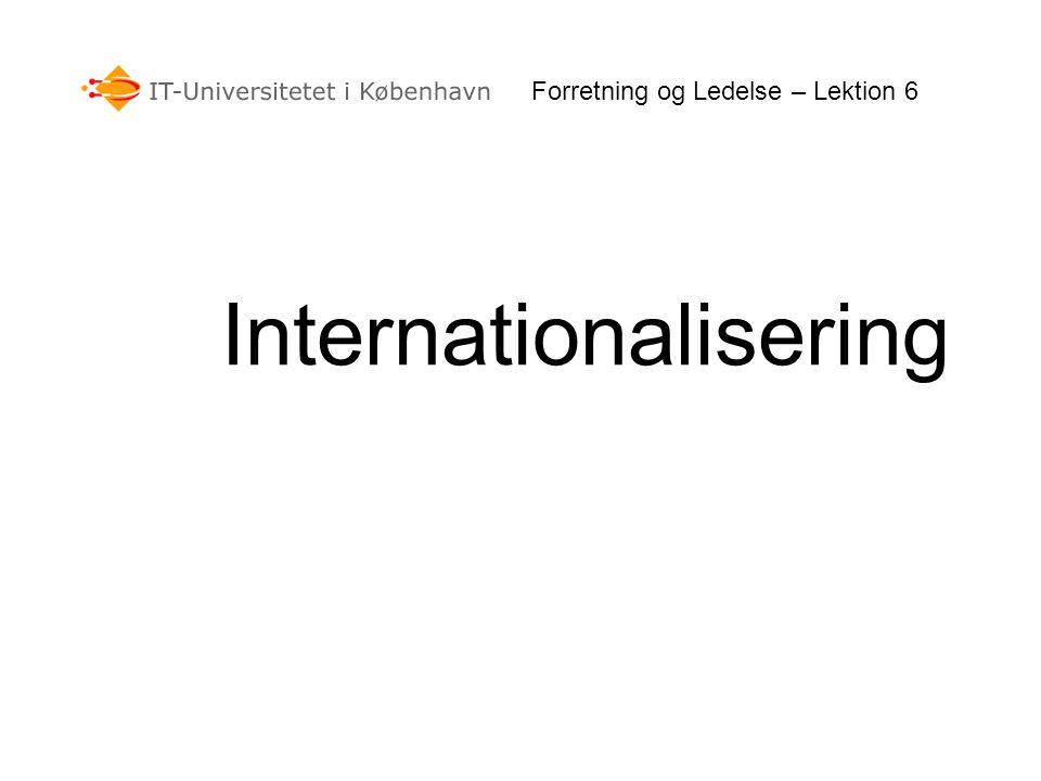 Internationalisering Forretning og Ledelse – Lektion 6