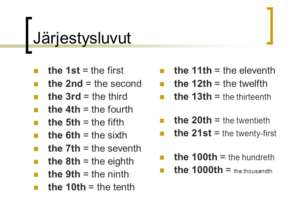 Järjestysluvut the 1st = the first the 2nd = the second the 3rd = the third the 4th = the fourth the 5th = the fifth the 6th = the sixth the 7th = the seventh the 8th = the eighth the 9th = the ninth the 10th = the tenth the 11th = the eleventh the 12th = the twelfth the 13th = the thirteenth the 20th = the twentieth the 21st = the twenty-first the 100th = the hundreth the 1000th = the thousandth