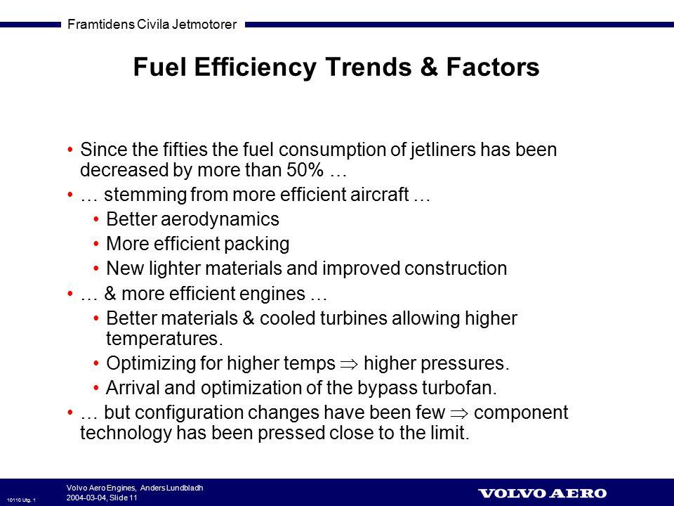 Framtidens Civila Jetmotorer 10110 Utg. 1 Volvo Aero Engines, Anders Lundbladh 2004-03-04, Slide 11 Fuel Efficiency Trends & Factors Since the fifties