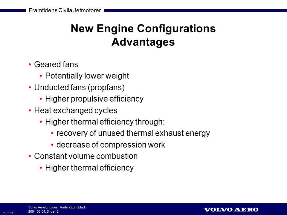 Framtidens Civila Jetmotorer 10110 Utg. 1 Volvo Aero Engines, Anders Lundbladh 2004-03-04, Slide 12 New Engine Configurations Advantages Geared fans P