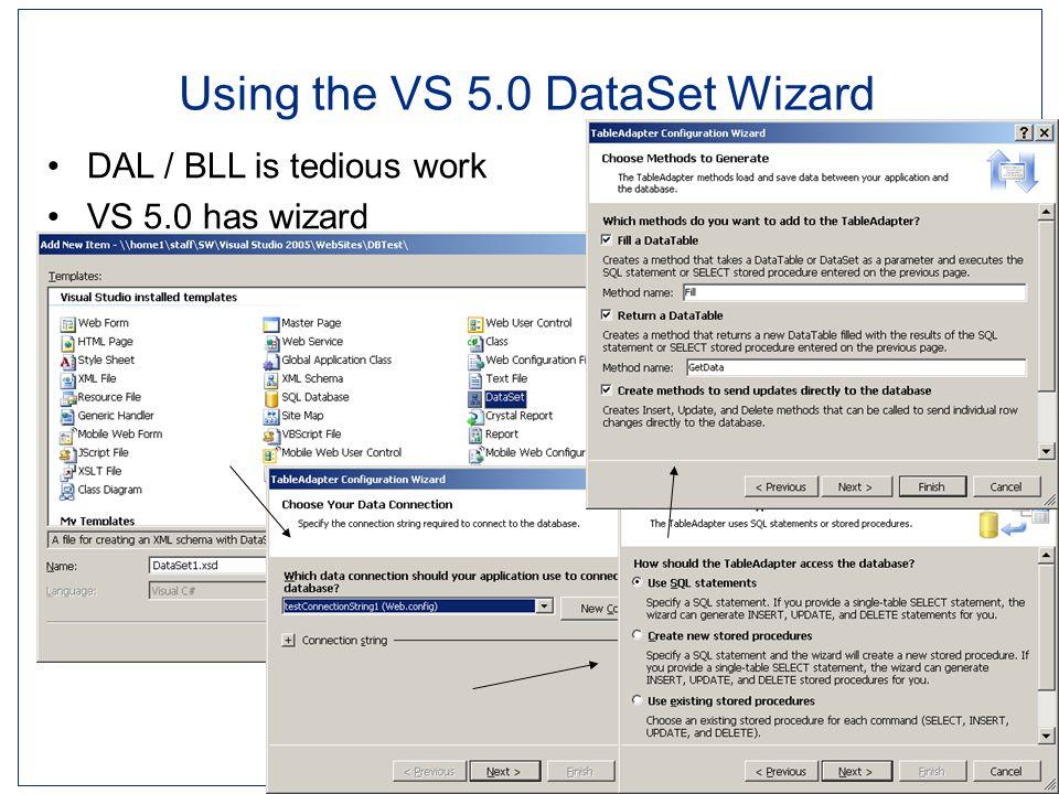 Ingeniørhøjskolen i Århus Slide 14 Using the VS 5.0 DataSet Wizard DAL / BLL is tedious work VS 5.0 has wizard