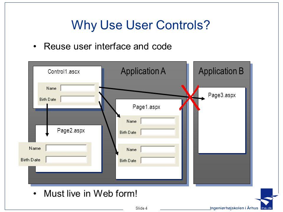 Ingeniørhøjskolen i Århus Slide 4 Why Use User Controls.