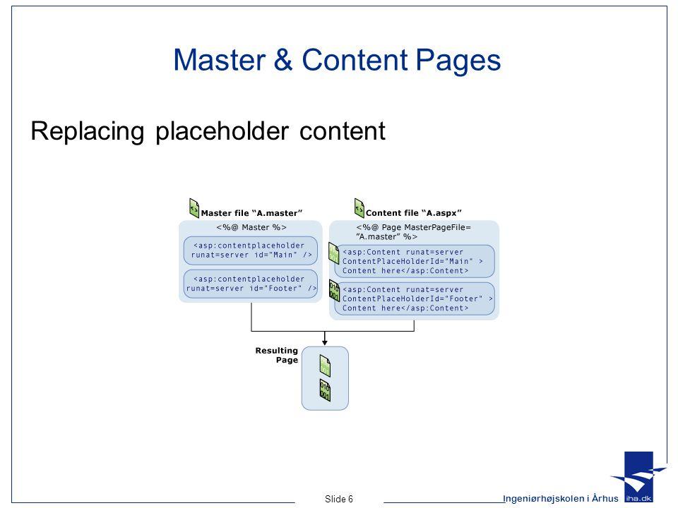 Ingeniørhøjskolen i Århus Slide 6 Master & Content Pages Replacing placeholder content