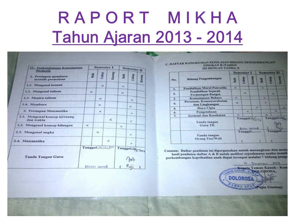 R A P O R T M I K H A Tahun Ajaran 2013 - 2014