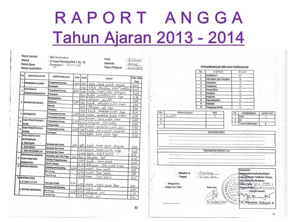 R A P O R T A N G G A Tahun Ajaran 2013 - 2014