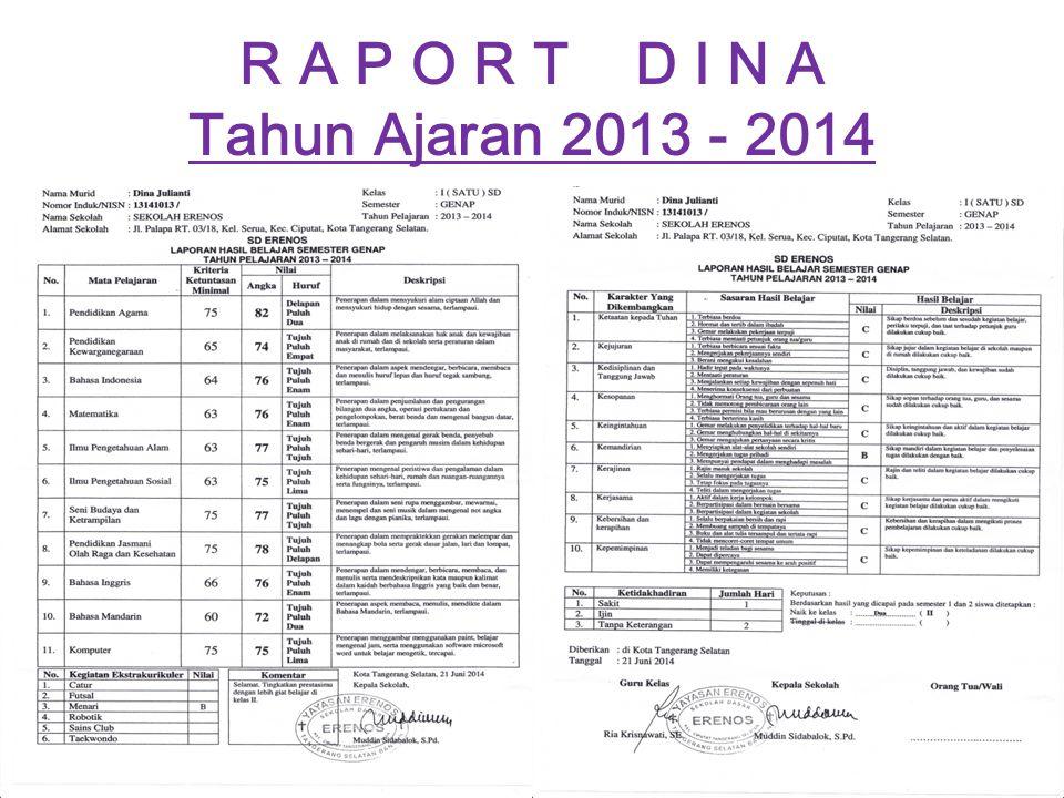 R A P O R T D I N A Tahun Ajaran 2013 - 2014