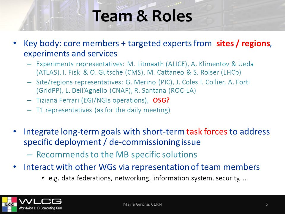 Team & Roles Key body: core members + targeted experts from sites / regions, experiments and services – Experiments representatives: M.