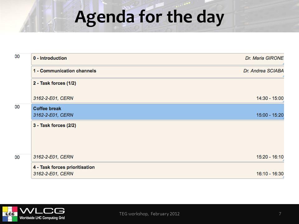 Agenda for the day TEG workshop, February 20127