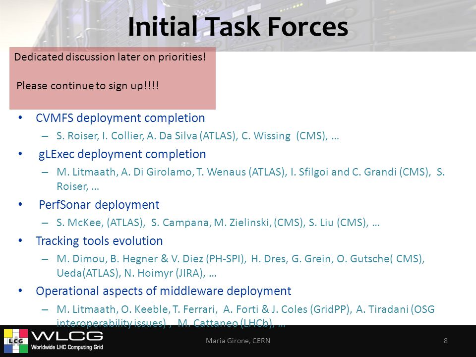 Initial Task Forces CVMFS deployment completion – S.