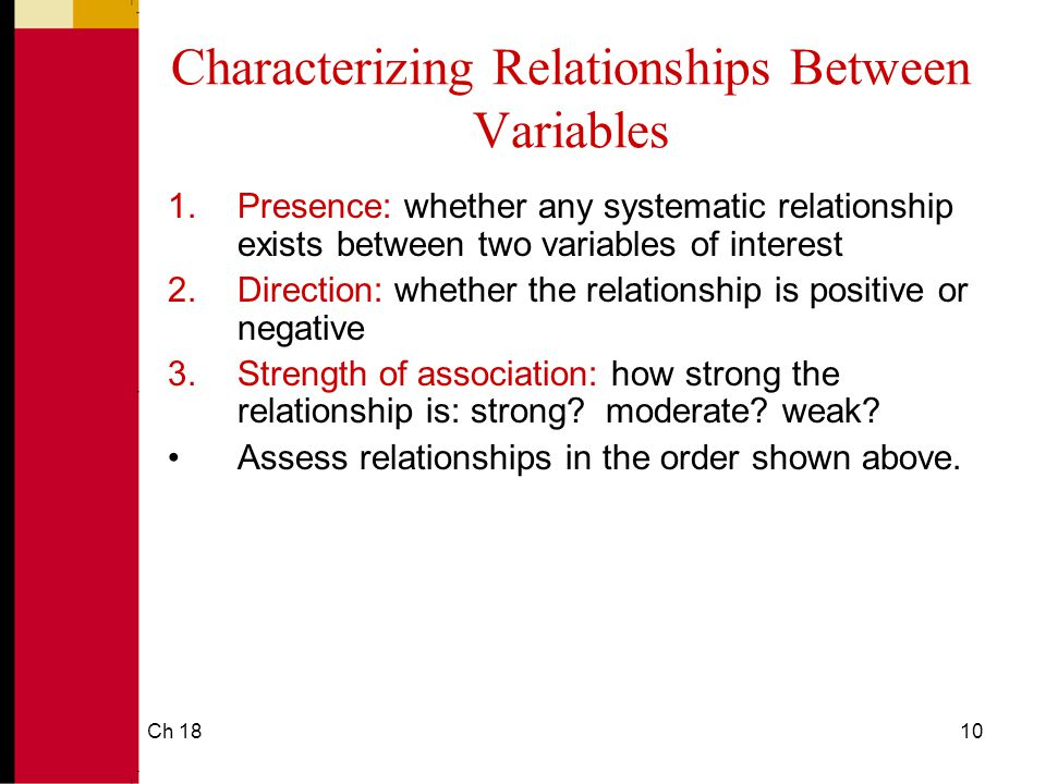Ch 1810 Characterizing Relationships Between Variables 1.Presence: whether any systematic relationship exists between two variables of interest 2.Direction: whether the relationship is positive or negative 3.Strength of association: how strong the relationship is: strong.