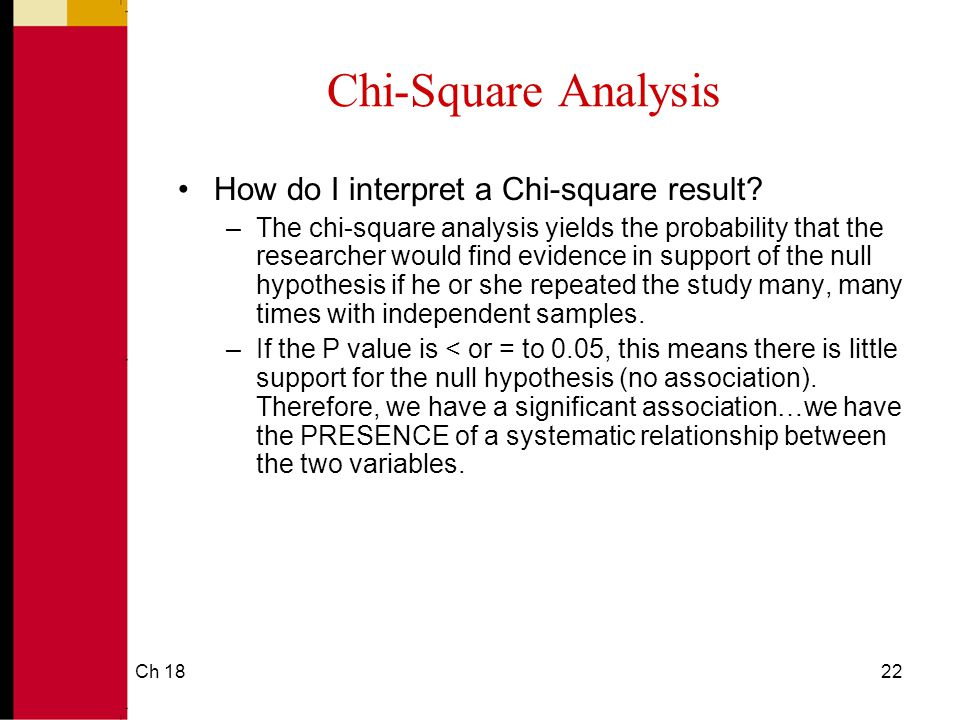 Ch 1822 Chi-Square Analysis How do I interpret a Chi-square result.