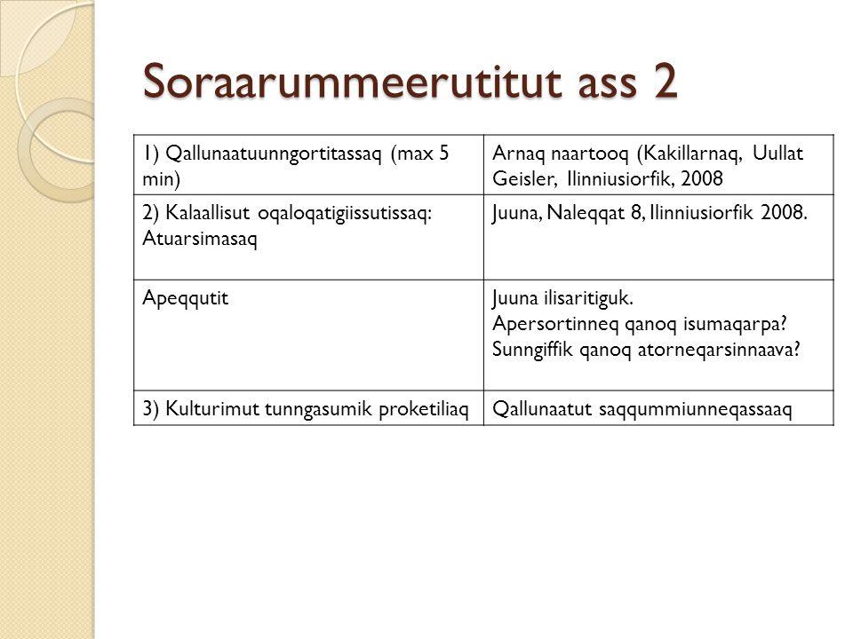 Soraarummeerutitut ass 2 1) Qallunaatuunngortitassaq (max 5 min) Arnaq naartooq (Kakillarnaq, Uullat Geisler, Ilinniusiorfik, 2008 2) Kalaallisut oqal