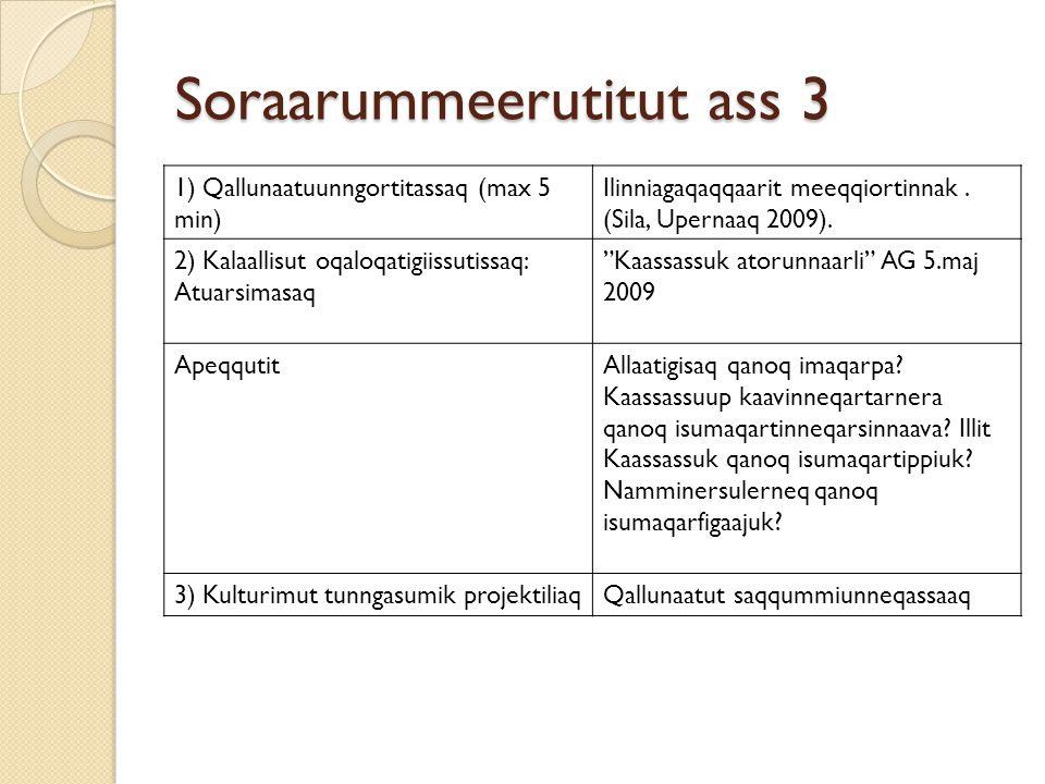 Soraarummeerutitut ass 3 1) Qallunaatuunngortitassaq (max 5 min) Ilinniagaqaqqaarit meeqqiortinnak. (Sila, Upernaaq 2009). 2) Kalaallisut oqaloqatigii