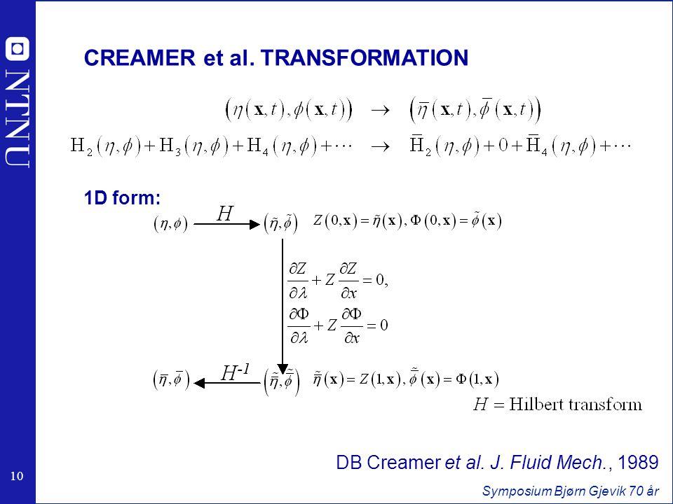 10 Symposium Bjørn Gjevik 70 år 1D form: CREAMER et al.