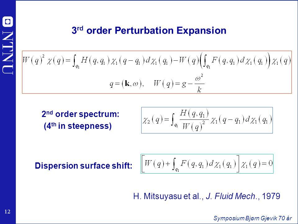 12 Symposium Bjørn Gjevik 70 år 3 rd order Perturbation Expansion 2 nd order spectrum: (4 th in steepness) Dispersion surface shift: H.