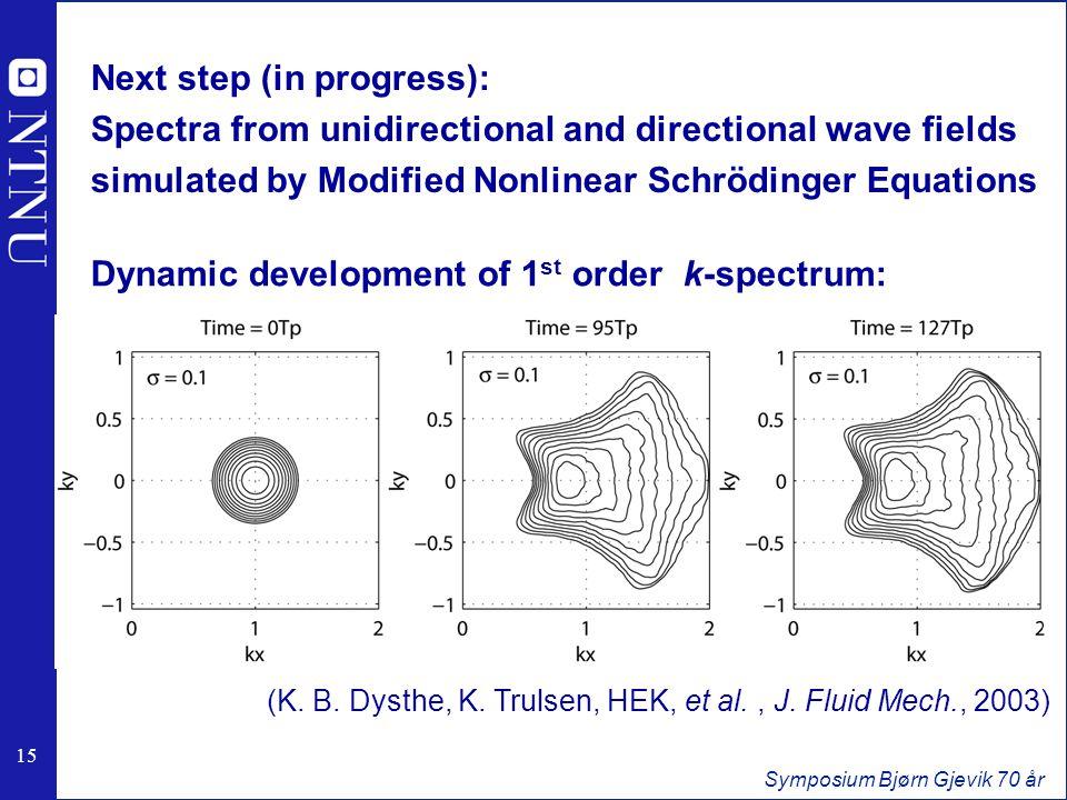 15 Symposium Bjørn Gjevik 70 år Next step (in progress): Spectra from unidirectional and directional wave fields simulated by Modified Nonlinear Schrödinger Equations Dynamic development of 1 st order k-spectrum: (K.