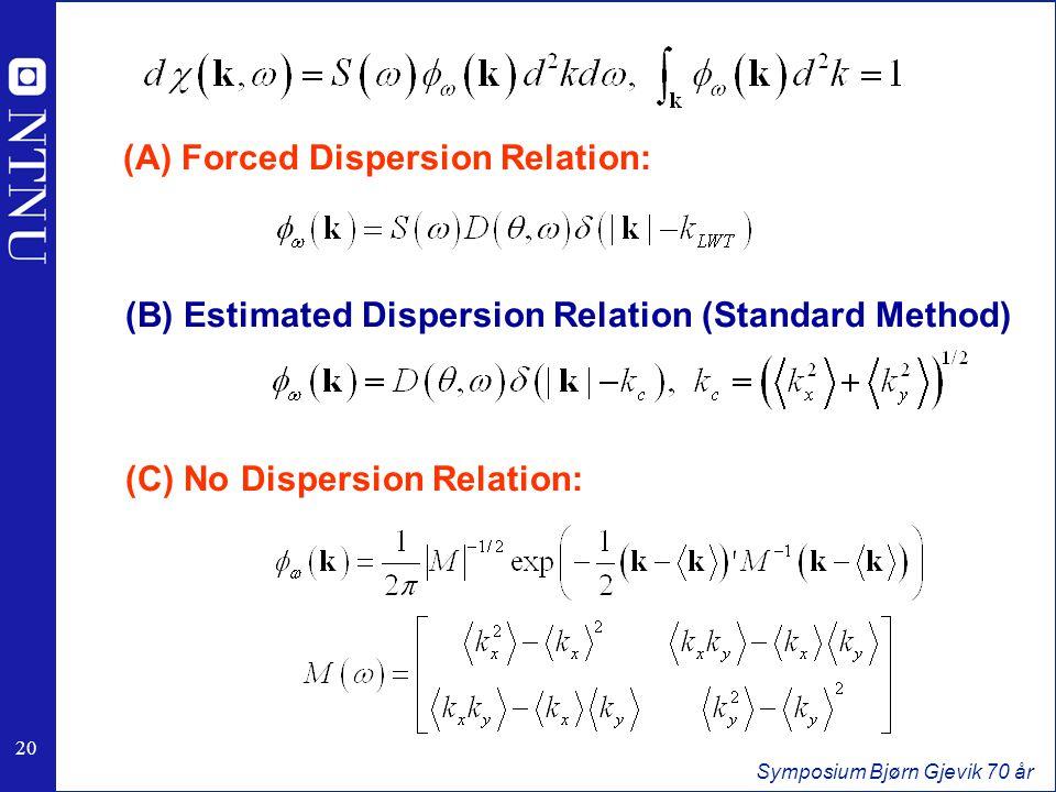 20 Symposium Bjørn Gjevik 70 år (B) Estimated Dispersion Relation (Standard Method) (C) No Dispersion Relation: (A) Forced Dispersion Relation: