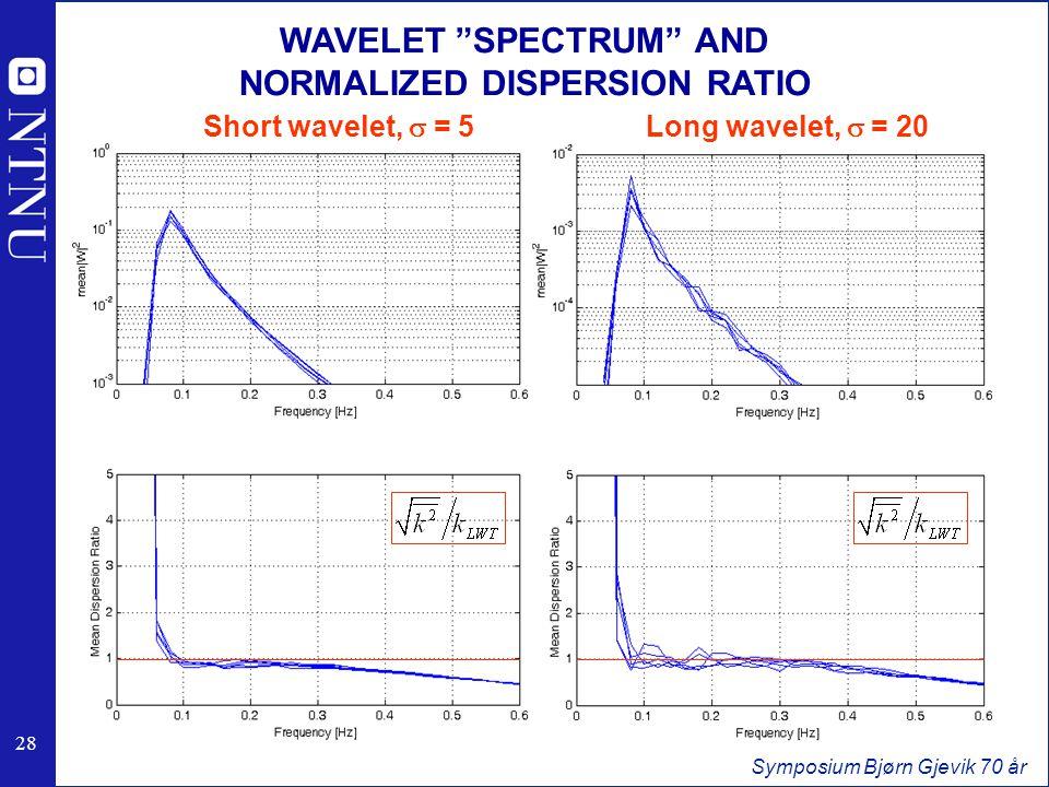28 Symposium Bjørn Gjevik 70 år WAVELET SPECTRUM AND NORMALIZED DISPERSION RATIO Long wavelet, s = 20Short wavelet, s = 5