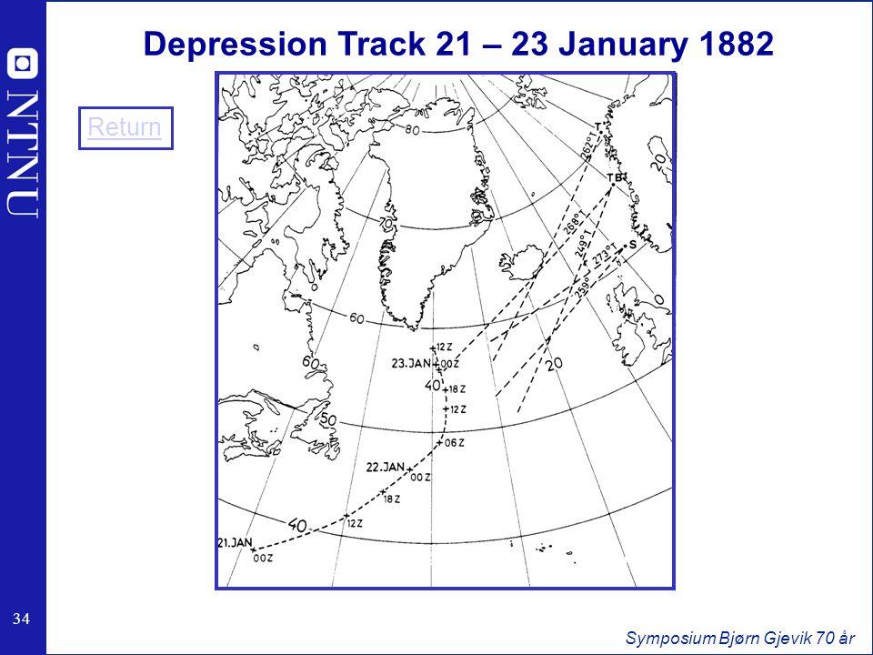 34 Symposium Bjørn Gjevik 70 år Depression Track 21 – 23 January 1882 Return
