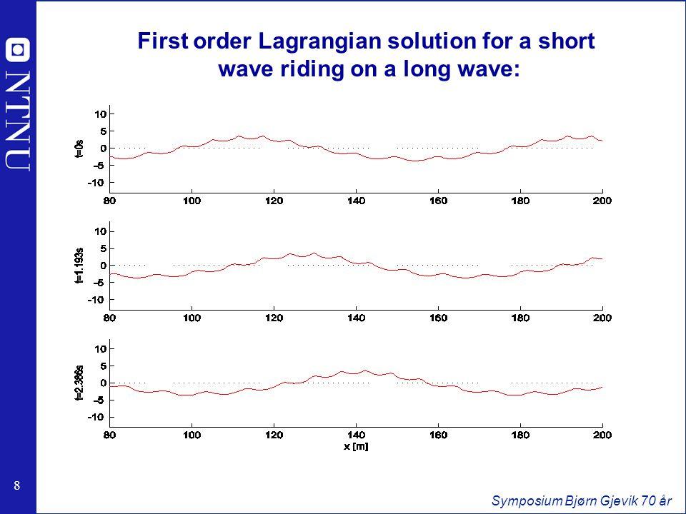 8 8 Symposium Bjørn Gjevik 70 år First order Lagrangian solution for a short wave riding on a long wave: