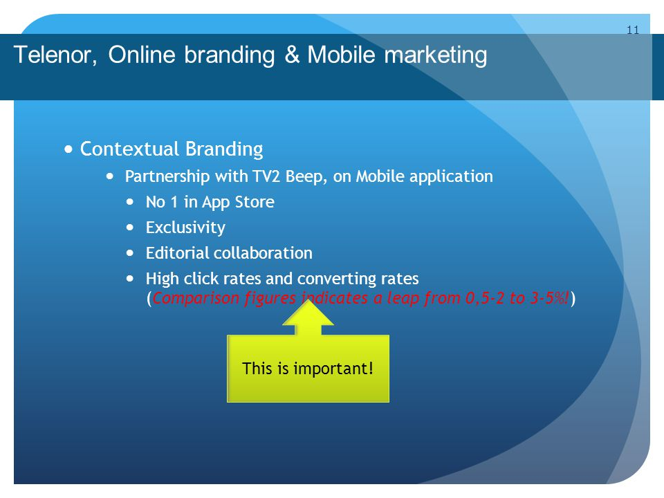 Telenor, Online branding & Mobile marketing Contextual Branding Partnership with TV2 Beep, on Mobile application No 1 in App Store Exclusivity Editori