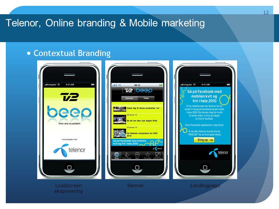 Telenor, Online branding & Mobile marketing Contextual Branding 12 Loadscreen eksponering BannerLandingpage