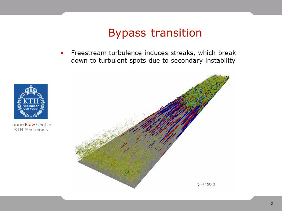 3 Linné Flow Centre KTH Mechanics Bypass Transition moderate to high levels of free-stream turbulence Non-modal growth of streaks Secondary instability of streaks Turbulent spots Turbulence Jacobs & Durbin 2000 Simulations of bypass transition, J.