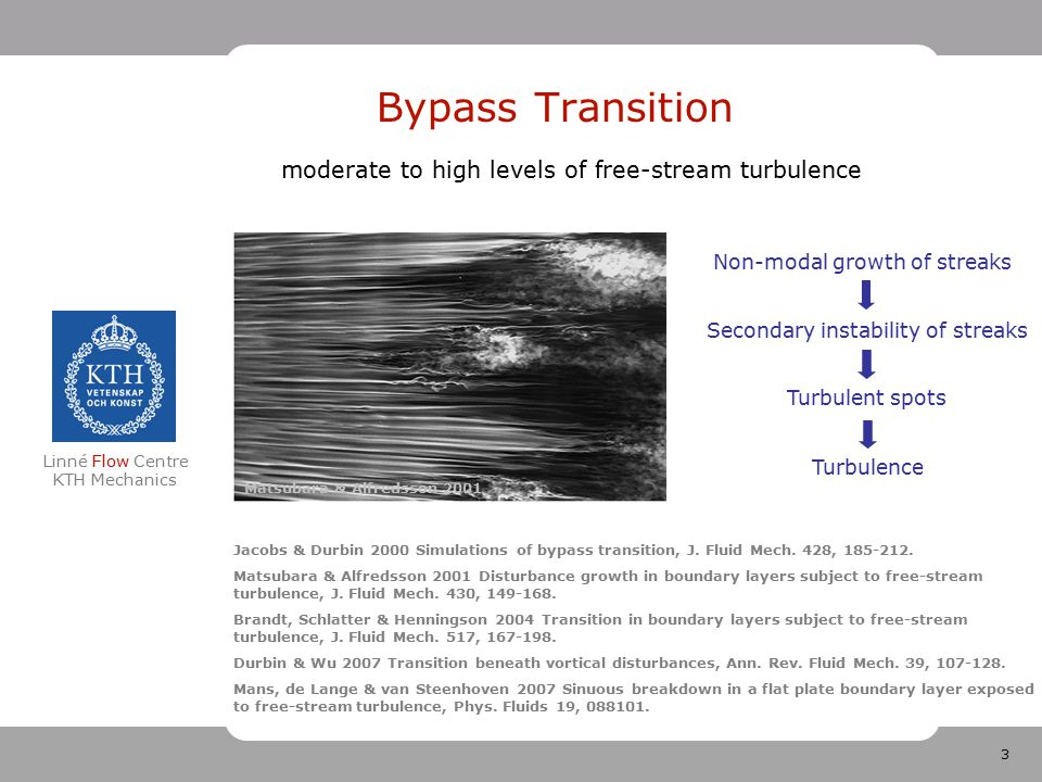 14 Linné Flow Centre KTH Mechanics Comparison of secondary instability characteristics Sinuous instability WavelengthGrowthratePropagation velocity Visualization Inviscid instability 10.40.035 Linear impulse response 10.40.0320.65 – 0.8 – 0.95 Non-linear impulse 110.0250.55 – 0.8 – 0.95 Zaki-Durbin model 200.85 KTH simulations 7 - 110.85 TU/e experiments 9 - 160.010.8