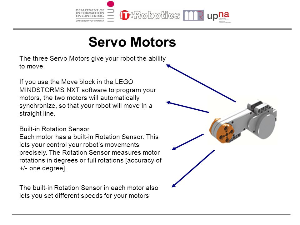 Servo Motors The three Servo Motors give your robot the ability to move. If you use the Move block in the LEGO MINDSTORMS NXT software to program your