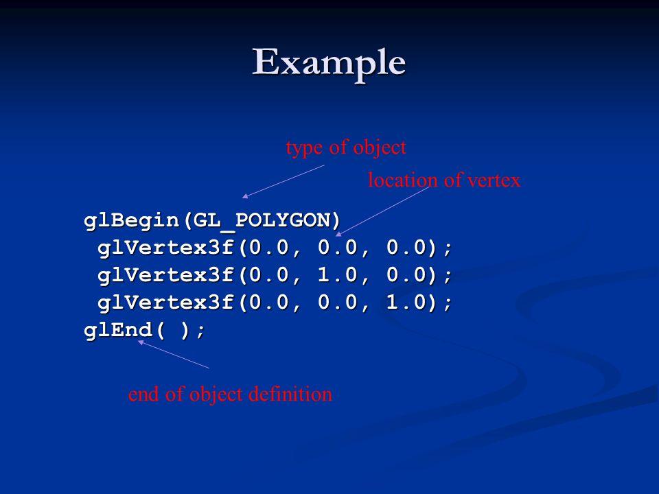 Example glBegin(GL_POLYGON) glVertex3f(0.0, 0.0, 0.0); glVertex3f(0.0, 1.0, 0.0); glVertex3f(0.0, 0.0, 1.0); glEnd( ); type of object location of vert
