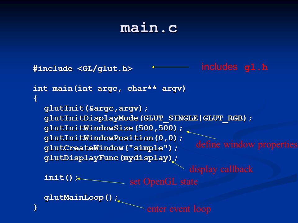 main.c #include #include int main(int argc, char** argv) {glutInit(&argc,argv);glutInitDisplayMode(GLUT_SINGLE|GLUT_RGB);glutInitWindowSize(500,500);g