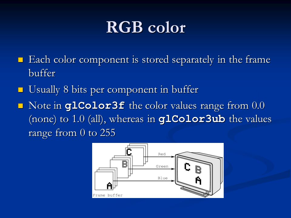 RGB color Each color component is stored separately in the frame buffer Each color component is stored separately in the frame buffer Usually 8 bits p