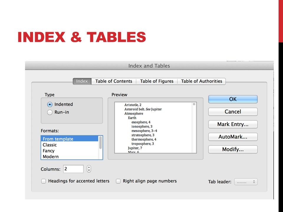 INDEX & TABLES