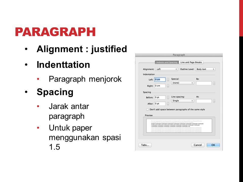 PARAGRAPH Alignment : justified Indenttation Paragraph menjorok Spacing Jarak antar paragraph Untuk paper menggunakan spasi 1.5