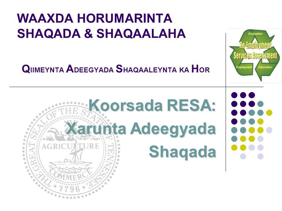 Koorsada RESA: Xarunta Adeegyada Shaqada WAAXDA HORUMARINTA SHAQADA & SHAQAALAHA Q IIMEYNTA A DEEGYADA S HAQAALEYNTA KA H OR