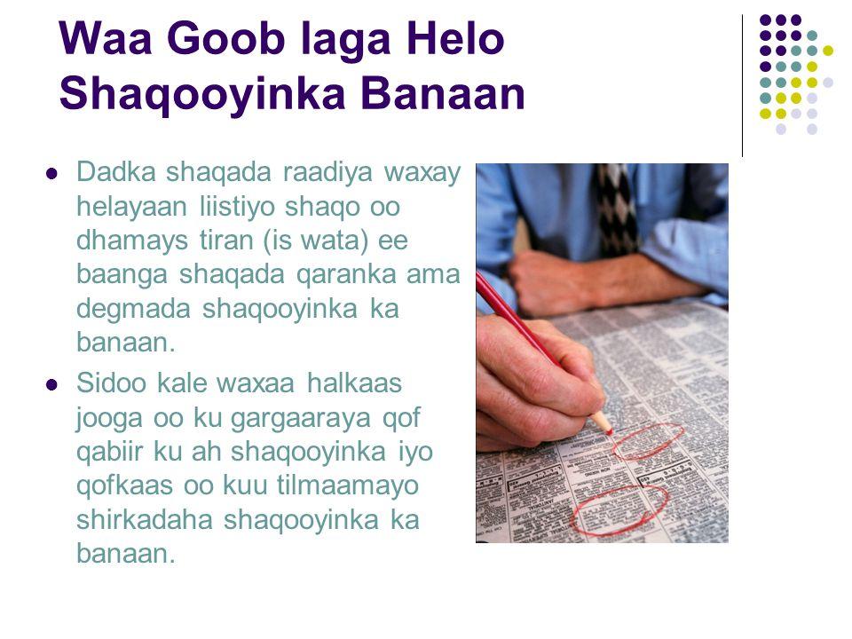 Waa Goob laga Helo Shaqooyinka Banaan Dadka shaqada raadiya waxay helayaan liistiyo shaqo oo dhamays tiran (is wata) ee baanga shaqada qaranka ama degmada shaqooyinka ka banaan.