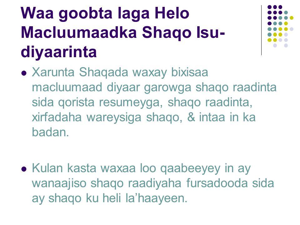 Waa goobta laga Helo Macluumaadka Shaqo Isu- diyaarinta Xarunta Shaqada waxay bixisaa macluumaad diyaar garowga shaqo raadinta sida qorista resumeyga, shaqo raadinta, xirfadaha wareysiga shaqo, & intaa in ka badan.