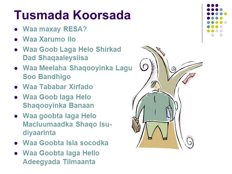 Tusmada Koorsada Waa maxay RESA.