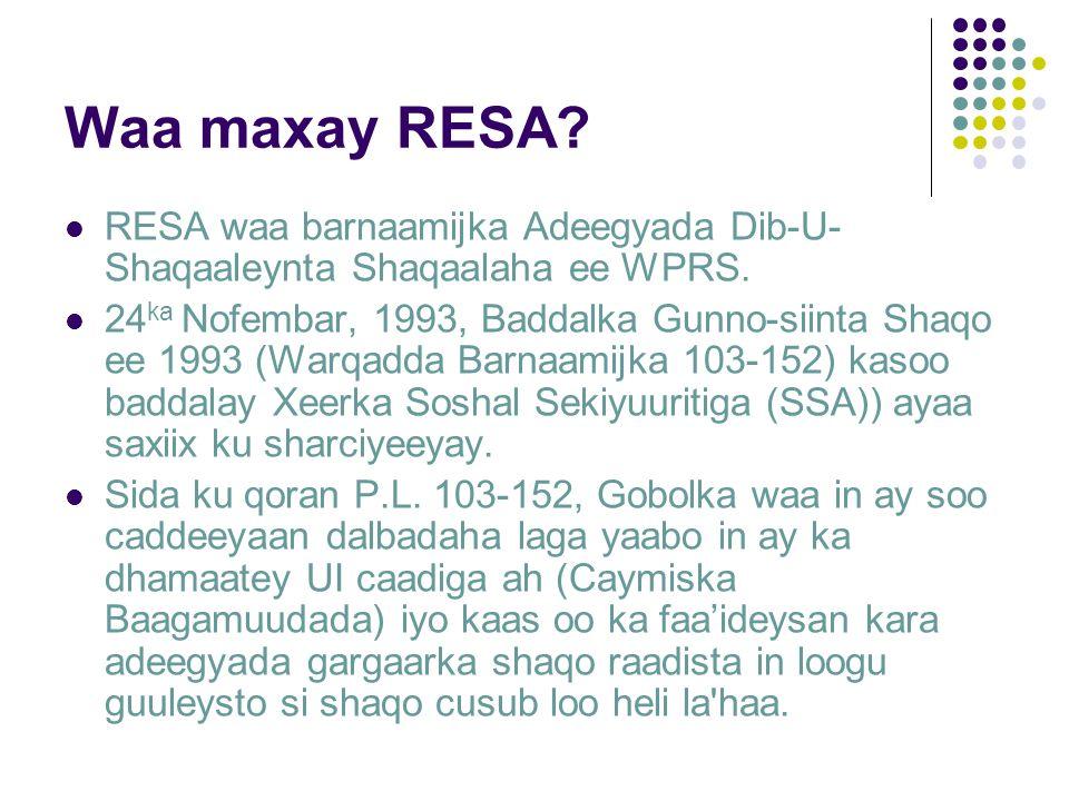 Waa maxay RESA. RESA waa barnaamijka Adeegyada Dib-U- Shaqaaleynta Shaqaalaha ee WPRS.