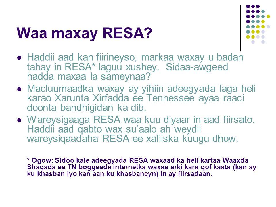 Waa maxay RESA. Haddii aad kan fiirineyso, markaa waxay u badan tahay in RESA* laguu xushey.