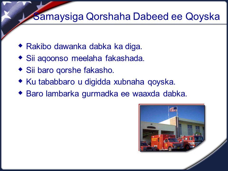 Samaysiga Qorshaha Dabeed ee Qoyska  Rakibo dawanka dabka ka diga.